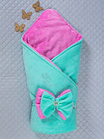 """Одеяло-конверт """"Бантик"""" ментоловый с розовым, зимний"""