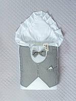 """Зимний одеяло-конверт """"Джентльмен"""" белый с полоской"""