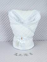 """Конверт-одеяло на выписку """"Змейка"""" белый, зимний"""