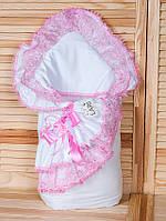 """Конверт-одеяло на выписку """"Луиза"""" розовый, зимний"""