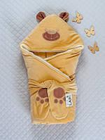 """Зимний конверт-одеяло на выписку """"Панда"""" капучино"""