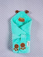 """Зимний конверт для новорожденных на выписку, """"Панда"""" ментоловый"""