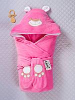 """Конверт-одеяло на выписку """"Панда"""" розовый, зима"""