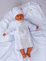 """Набір для хрещення немовляти """"Ангел"""" білий, 68-74 р (футер, кулір)"""