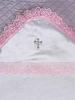 Пеленка крестильная для девочки, белая с розовым кружевом