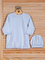Крестильная рубашка с шапочкой, белая 74 р