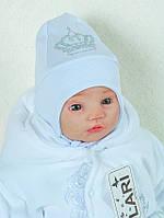 Шапочка c завязками для новорожденных, белая, 0-1 мес