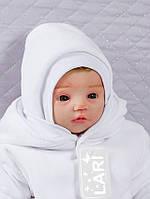 Шапочка велюровая для новорожденных, белая, 0-1 мес