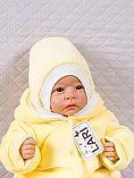Шапочка велюровая для новорожденных, желтый 0-1 мес
