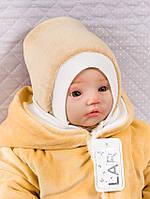 Шапочка велюровая для новорожденных, капучино, 0-1 мес