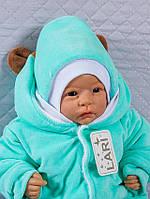 Шапочка велюровая для новорожденных, 0-1 мес, ментол