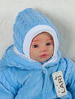 Шапочка с завязками голубая, вязанное полотно, 0-1 мес