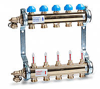 Коллектор HKV T из латуни для теплого пола с расходомерами (4 выхода)
