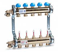 Коллектор HKV T из латуни для теплого пола с расходомерами (2 выхода)