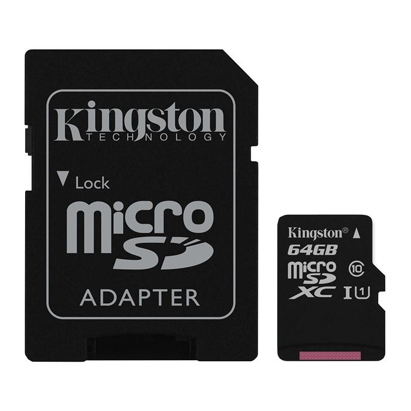 Карта памяти microSDXC 64GB Kingston (UHS-1) + Адаптер SD
