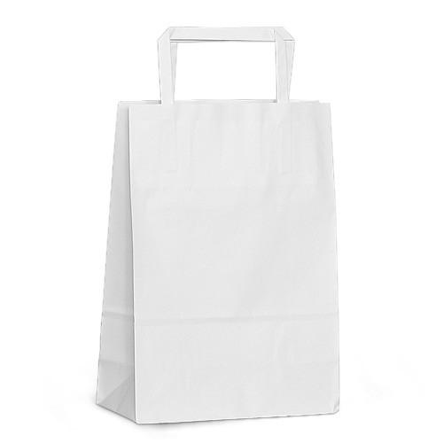 Крафт-пакет 18x08x25 белый с плоскими ручками