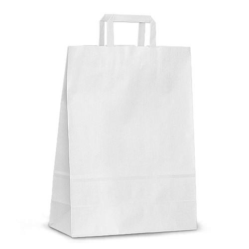 Крафт-пакет 26x11x38 белый с плоскими ручками