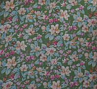 Полиэстер Полевые цветы Зеленые Р