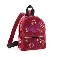 Рюкзак Fancy mini темно розовый бархат авторской вышивкой