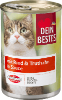 Корм для кошек и котов с говядиной и индейкой в соусе Dein Bestes mit Rind & Truthahn in Sauce 400 гр