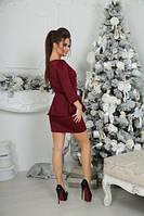 Красивое красное короткое платье с баской