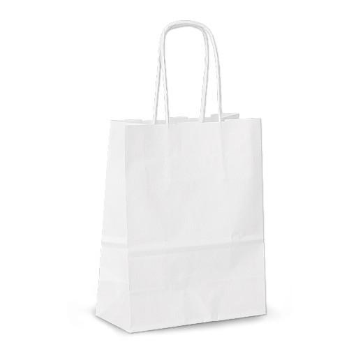 Крафт-пакет 15х08х20 белый с витыми ручками