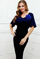 Элегантное праздничное женское платье (рр 42-50) черно-синее