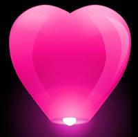 Небесные фонарики сердце розовые