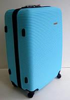 Чемодан дорожный пластиковый: на колесах, средний,  голубой