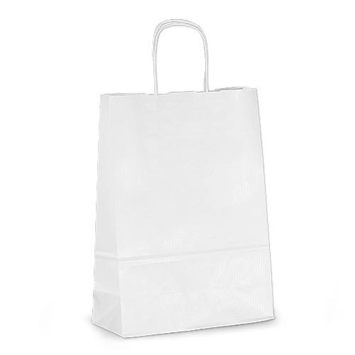 Крафт-пакет 23х10х32 белый с витыми ручками