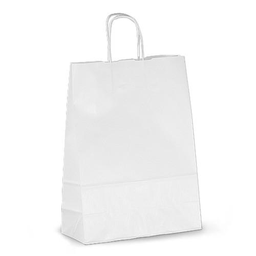 Крафт-пакет 26х11х34,5 белый с витыми ручками