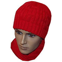 Вязаная мужская шапка кораллового цвета, спортивного силуэта