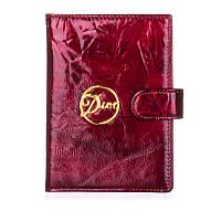 Обложка для паспорта женская кожаная Christian Dior красный гранит