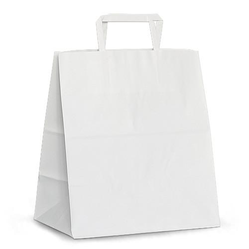 "Крафт-пакет 26х16х29 белый с плоскими ручками ""на вынос"""