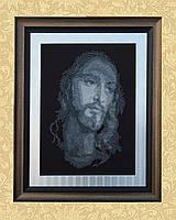 """Вышитая картина бисером """"Иисус Спаситель"""" на черном фоне"""