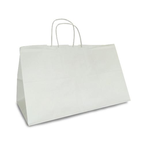 """Крафт-пакет 30x18x18 белый с витыми ручками """"на вынос"""""""