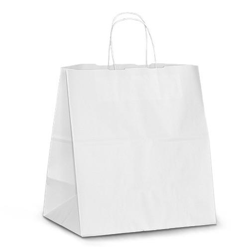 """Крафт-пакет 32x19x34 белый с витыми ручками """"на вынос"""""""