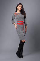 Молодежное теплое платье с поясом