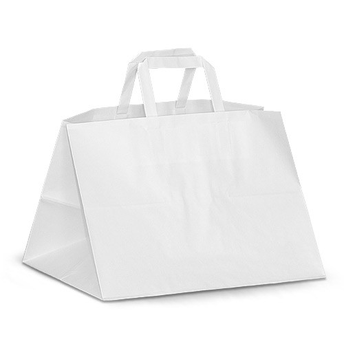 "Крафт-пакет 35х25х25 белый с плоскими ручками ""на вынос"""