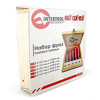 Набор фрез пазовых прямых в деревянном кейсе INTERTOOL HT-0075