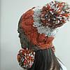 Женская шапка с бубонами, фото 3