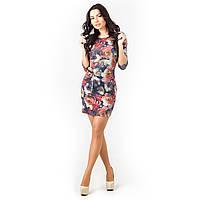 Платье цветы трикотажное розовое, фото 1
