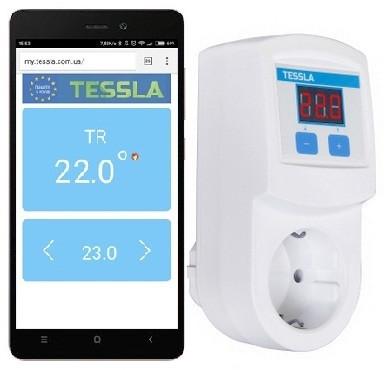 Система умный дом. Терморегулятор TESSLA TRW Wi-Fi розеточный программируемый дистанционный.
