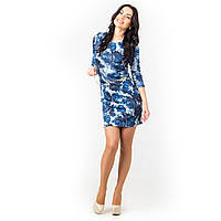 Платья цветы трикотажное синие