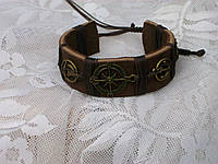 Мужской кожаный браслет на руку МОРСКОЙ ручная работа