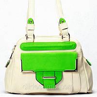 Женская сумка Gilda Tohetti бежевая с салатовым, фото 1