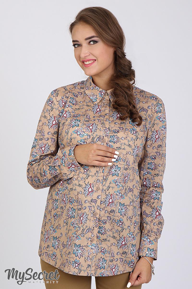 Рубашка для беременных Noni, цветы на бежевом фоне