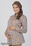 Рубашка для беременных Noni, цветы на бежевом фоне, фото 2