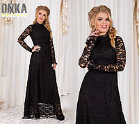 Стильное черное гипюровое платье в пол. Арт-9680/9