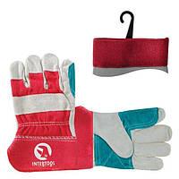 Перчатка замшевая из цельного материала c уплотняющей нашивкой на ладони и пальцах с красными коттоновыми вста